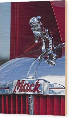 1952 L Model Mack Pumper Fire Truck Hood Ornament Wood Print by Jill Reger