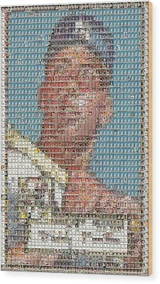 Wood Print featuring the mixed media 1952 Topps Mickey Mantle Rookie Card Mosaic by Paul Van Scott