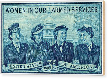 1952 Women In Military Service Stamp Wood Print by Historic Image