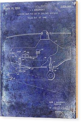 1953 Helicopter Patent Blue Wood Print by Jon Neidert