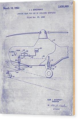 1953 Helicopter Patent Blueprint Wood Print by Jon Neidert