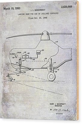 1953 Helicopter Patent Wood Print by Jon Neidert