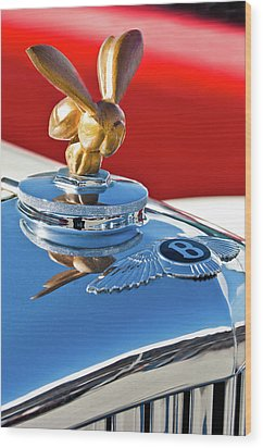 1954 Bentley One Of A Kind Hood Ornament Wood Print by Jill Reger