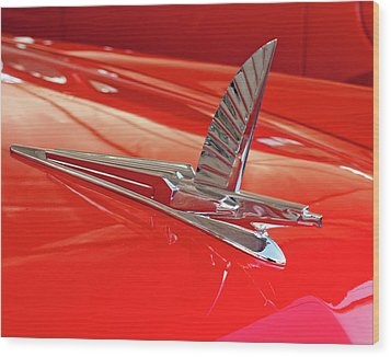 1954 Ford Cresline Sunliner Hood Ornament 2 Wood Print by Jill Reger