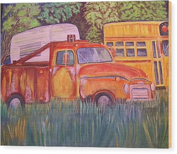 1954 Gmc Wrecker Truck Wood Print by Belinda Lawson