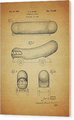 1954 Weiner Mobile Patent Wood Print by Dan Sproul