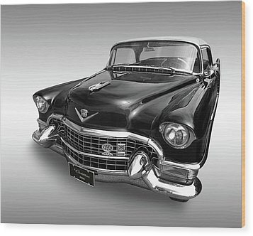 Wood Print featuring the photograph 1955 Cadillac Black And White by Gill Billington