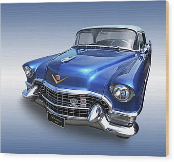 Wood Print featuring the photograph 1955 Cadillac Blue by Gill Billington