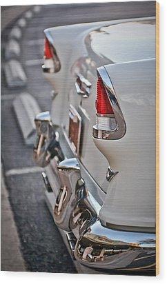 1955 Chevrolet Belair Tail Lights Wood Print by Jill Reger