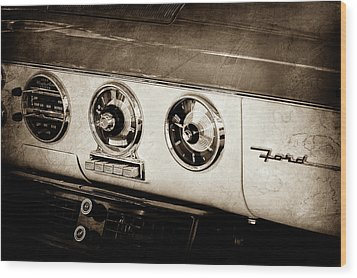 Wood Print featuring the photograph 1955 Ford Fairlane Dashboard Emblem -0444s by Jill Reger