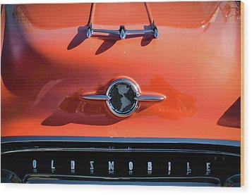 1955 Oldsmobile Rocket 88 Hood Ornament Wood Print by Jill Reger