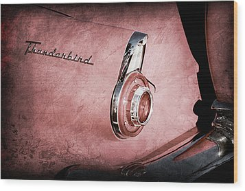 Wood Print featuring the photograph 1956 Ford Thunderbird Convertible Taillight Emblem -0361ac by Jill Reger
