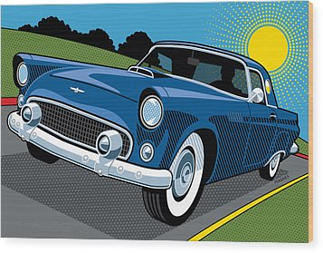 Wood Print featuring the digital art 1956 Ford Thunderbird Sunday Cruise by Ron Magnes