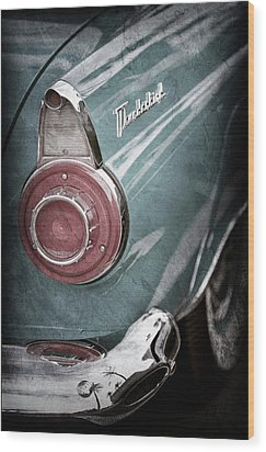 Wood Print featuring the photograph 1956 Ford Thunderbird Taillight Emblem -0382ac by Jill Reger