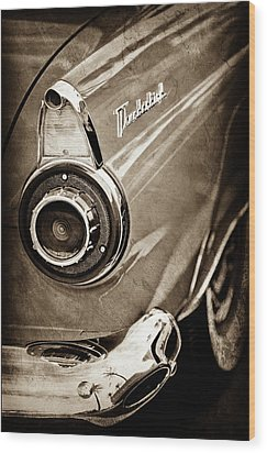 Wood Print featuring the photograph 1956 Ford Thunderbird Taillight Emblem -0382s by Jill Reger