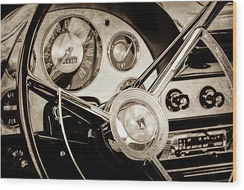 Wood Print featuring the photograph 1956 Ford Victoria Steering Wheel -0461s by Jill Reger