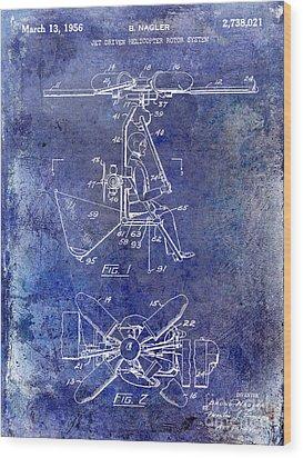 1956 Helicopter Patent Blue Wood Print by Jon Neidert