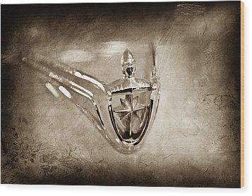 Wood Print featuring the photograph 1956 Lincoln Premier Convertible Hood Ornament -0832s by Jill Reger