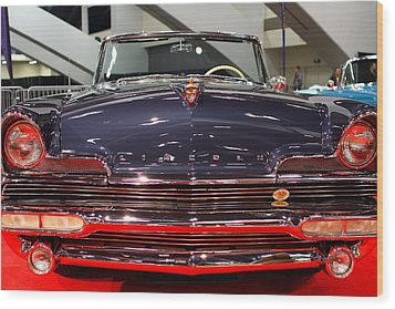 1956 Lincoln Premiere Convertible . Blue . 7d9245 Wood Print by Wingsdomain Art and Photography