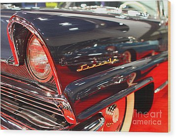 1956 Lincoln Premiere Convertible . Blue . 7d9249 Wood Print by Wingsdomain Art and Photography