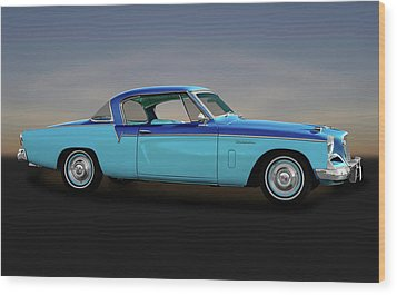 Wood Print featuring the photograph 1956 Studebaker Sky Hawk Coupe  -  1956studebakerskyhawk170517 by Frank J Benz
