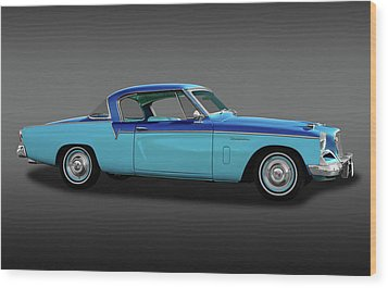 Wood Print featuring the photograph 1956 Studebaker Sky Hawk Coupe  -  1956studebakerskyhawkfa170517 by Frank J Benz