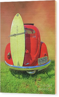 1957 Beetle Oval Wood Print by Marion Johnson