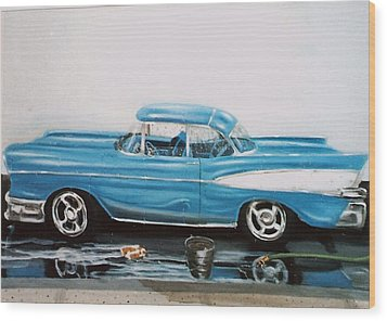 Wood Print featuring the painting 1957 Bel Air by Susan Roberts