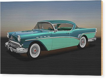 Wood Print featuring the photograph 1957 Buick Super Riviera 2 Door Hardtop  -  1957buicksuperriviera170431 by Frank J Benz