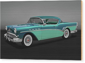 Wood Print featuring the photograph 1957 Buick Super Riviera 2 Door Hardtop  -  1957buicksuperrivieragry170431 by Frank J Benz