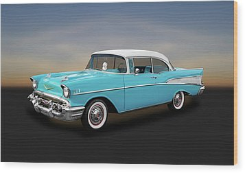 1957 Chevrolet Bel Air Sport Coupe   -   57chspcp260 Wood Print by Frank J Benz
