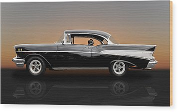 1957 Chevrolet Bel Air Sport Coupe - V1 Wood Print by Frank J Benz