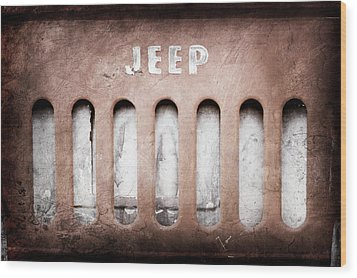 Wood Print featuring the photograph 1957 Jeep Emblem -0597ac by Jill Reger