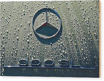 1957 Mercedes Benz 300sl Roadster Emblem Wood Print by Jill Reger
