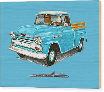 Apache Pick Up Truck Wood Print by Jack Pumphrey