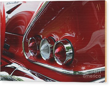 1958 Impala Tail Lights Wood Print by Paul Ward