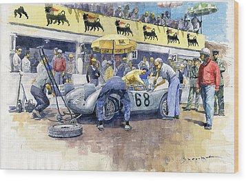 1958 Targa Florio Porsche 718 Rsk Behra Scarlatti 2 Place Wood Print by Yuriy Shevchuk