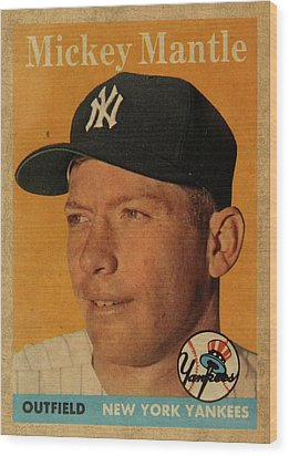 1958 Topps Baseball Mickey Mantle Card Vintage Poster Wood Print