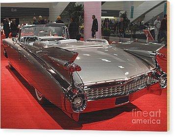 1959 Cadillac Convertible . Rear Angle Wood Print by Wingsdomain Art and Photography