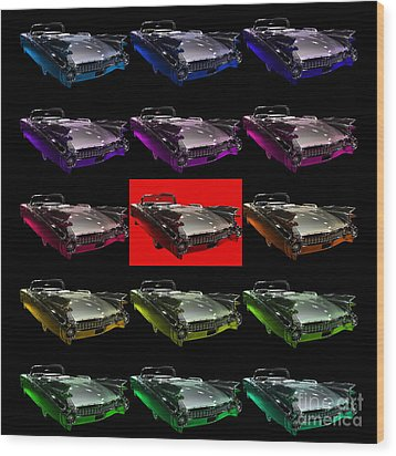 1959 Cadillac Eldorado Convertible . Wing Angle Artwork 2 Square Wood Print by Wingsdomain Art and Photography