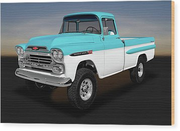 Wood Print featuring the photograph 1959 Chevrolet Apache 36 Fleetside  -  1959chevroletapache170564 by Frank J Benz