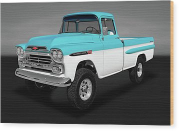 Wood Print featuring the photograph 1959 Chevrolet Apache 36 Fleetside   -   1959chevroletapachenapcogry170564 by Frank J Benz