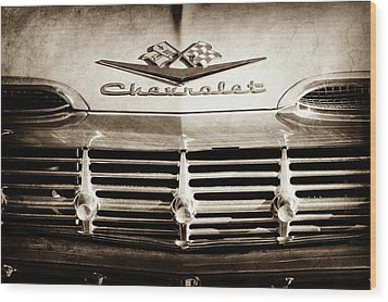 Wood Print featuring the photograph 1959 Chevrolet Impala Grille Emblem -1014s by Jill Reger