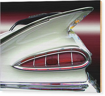 1959 Chevrolet Impala Tail Wood Print by Peter Piatt