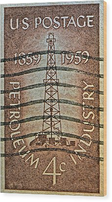 1959 First Oil Well Stamp Wood Print by Bill Owen