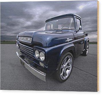 1959 Ford F100 Dark Blue Pickup Wood Print by Gill Billington