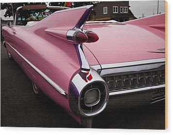 1959 Pink Cadillac Convertible Wood Print by David Patterson