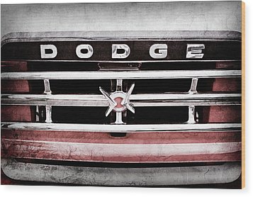 Wood Print featuring the photograph 1960 Dodge Truck Grille Emblem -0275ac by Jill Reger