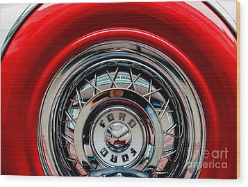 Wood Print featuring the photograph 1958 Ford Crown Victoria Wheel by M G Whittingham