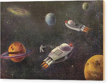 1960s Outer Space Adventure Wood Print by Randy Burns